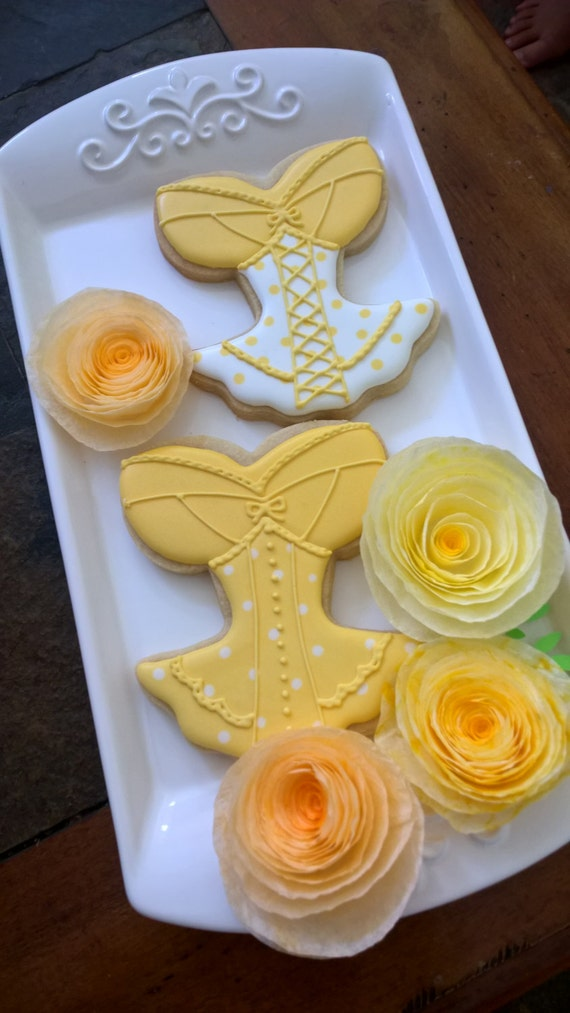 Yellow Corset, Lingerie Bridal Shower Cookie Favors - 12 Pcs, Wedding Cookies,  Bridal Shower Cookies