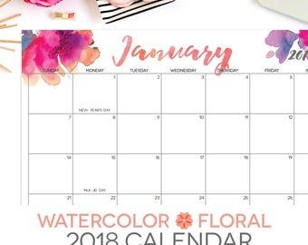 "2018 Printable Calendar | Editable | 12 Month | Letter Size 8.5"" x 11"" | Instant Download | Landscape"