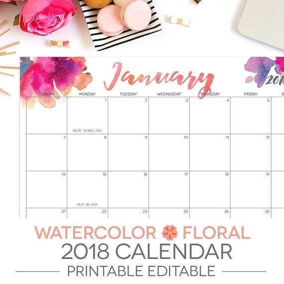 2018 12 month calendar printable