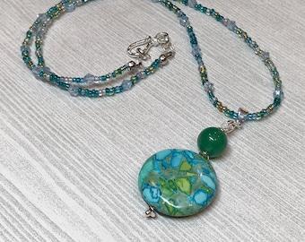 Green Bead Necklace, green stone necklace, statement necklace, boho jewelry, festival jewelry, boho necklace, beaded jewelry, green statemen