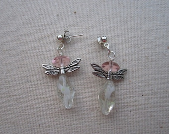 Angel dangle earrings with clear and pale pink beads