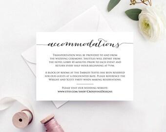Accommodations Card Insert, Wedding Information Card Template, DIY Bride Invite Template, Printable Wedding Details Card Templates