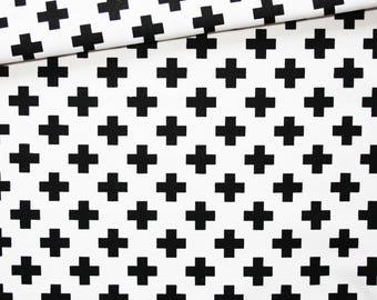 Cross, 100% cotton fabric printed 50 x 160 cm, crosses, black and white