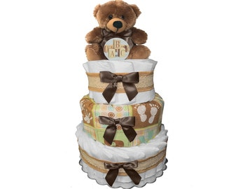 Teddy Bear 3-Tier Diaper Cake for a Boy - Baby Shower Centerpiece Gift Set