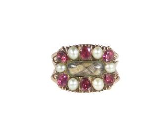 Georgian Garnet Pearl Ring, Antique Mourning Ring, In 15ct gold, Georgian Pearl Garnet Ring, Georgian Ring, Antique Garnet Ring