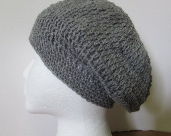 Mans Womans Gray Wool Slouchy Hat Cap Organic Natural Woolen Beanie Unique Fathers Day Gift Oversize Big Hair Dreadlocks Crochet Bohemian