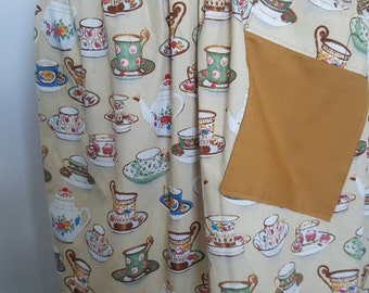 Half apron VINTAGE tea cup fabric trimmed with mustard