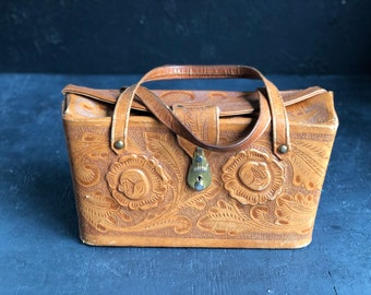 70's Tooled Leather Handbag. Floral Tooled Leather. Southwestern Bag. | CuriousMooseVintage