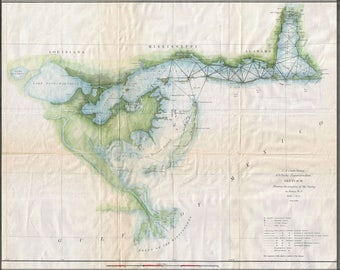 Poster, Many Sizes Available; 1853 U.S. Coast Survey Map Of Lake Pontchartrain, New Orleans, And The Mississippi Delta