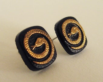 Vintage Glass Gold Snake Stud Earrings