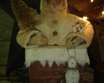 Chimney Santa with Snowman Ornament