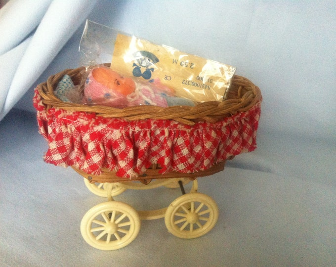 Vintage Doll Carriage Stroller with packaged Ari Doll miniature