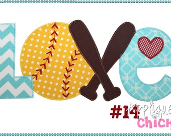 Softball Love Machine Applique Design