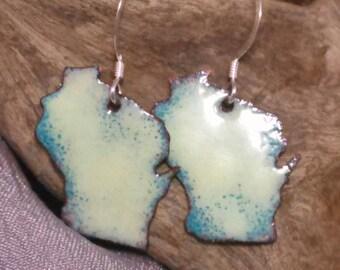 Wisconsin earrings, hand sawn