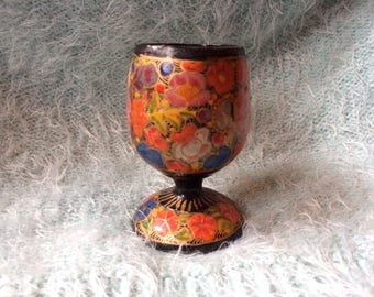 Russian Khokhloma Lacquered Decorative Cup Klimt Inspired Hand Painted
