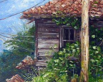 Original Acrylic Painting On Canvas Of An Old Bulgarian House, Size 30 cm x 40 cm