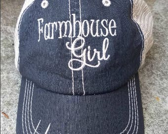 Farmhouse Girl Distressed Trucker Hat - Distressed Trucker Cap - Farmhouse Baseball hat