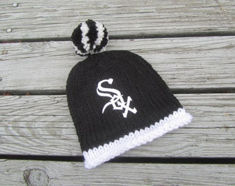 CHICAGO WHITE SOX Hand Knit Baby Hat - Chicago White Sox Baby Hat - Hand Knitted Baby Hat