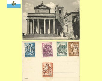 1960s San Marino - Neoclassic Basilica of San Marino & San Pietro Church Postcard - Very Good