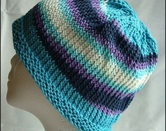 Adult Cotton Beanie, Hand-Knit
