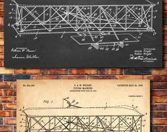 Wright Brothers Airplane Patent Print Art 1906