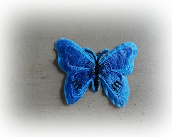 1 patch fusible patch / applique Butterfly in shades of Turquoise and black 5.5 * 7 cm
