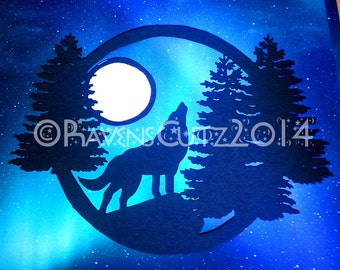 Wolf howling paper cut pattern/stencil/template hand drawn.