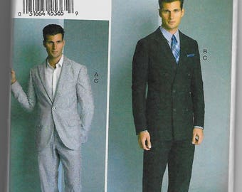 V8988 Vogue Men's Jacket and Pants Sewing Pattern Sizes 34-40 and 40-46 Rated Advanced in Difficulty to Make
