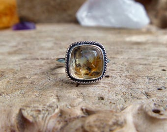 Dendritic Quartz and sterling silver ring // Size 6 // Sterling silver jewelry // quartz jewelry