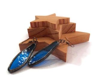 Aqua Blue Earrings Stained Glass Earrings  Blue Glass Earrings Soldered Jewelry Handmade Jewelry Dangle Drop Earrings Aqua Spear Earrings