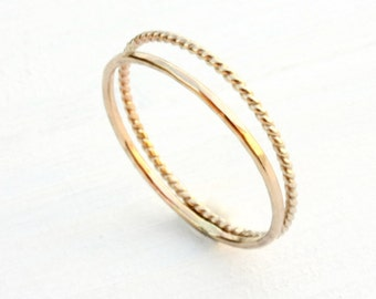 Solid 14k gold stacking rings / two stackable gold rings / skinny gold rings / yellow gold rings / twisted wire gold ring handmade