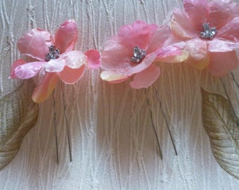 Bridal hairpins, pastel color flower hairpins, set of 3 WEDDING | PROM | PARTY