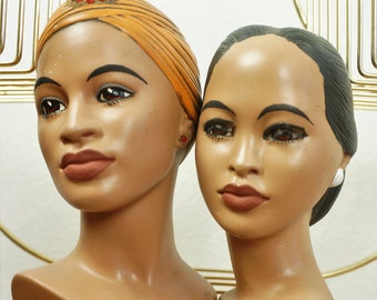 60's Marwal Women Chalkware Busts - Bookends / Pair of MCM Female Head Bust / MCM Plaster Chalkware Female Beauty Heads