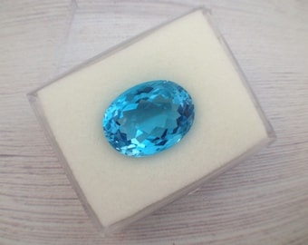 One-of-a-kind, Oval facet natural Blue Topaz Swiss, semi precious gemstone supply, 20X15mm, 1 pcs
