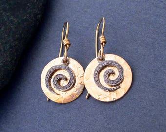 Genuine Diamond Pave Earrings Swirl Spiral Dangle Earrings with 14k Gold Filled Round Discs April Birthstone Modern Greek Goddess Jewelry