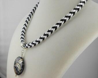 Black and White Elegance Kumihimo Necklace