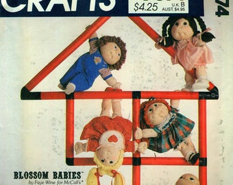 "McCall's 9074 BLOSSOM BABIES Jonny Jumpup, Baby Bud, Amaryllis, Marigold, Busy Lizzie 18"" Dolls and Clothes ©1984 Also as McCall's 731"