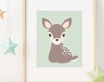 Deer Print, Woodland Nursery Decor, Animal Nursery Art, Instant Download Printable Art, Baby Animal Nursery Print, Kids Wall Art, Baby Gift