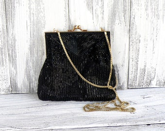 Vintage black beaded purse with gold kiss lock frame and chain with inner pocket