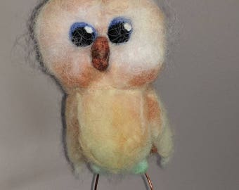 Felted Sweet Baby  Owlette Owl perched on branch ... Child decor .. home decor ... Indoor and outdoor