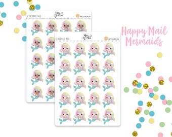 Planner Sticker Icons- Happy Mail Mermaid Icons