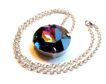 Rainbow Brite - Large Round Rainbow Crystal Pendant Necklace - Swarovski Vitrail Medium Color Changing Crystal Charm Necklace