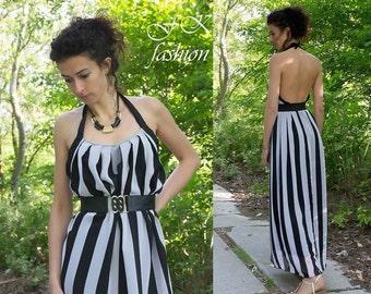Stripes Dress / Chiffon Dress / Womens Dresses / Dress / Maxi Dress / Summer Dress / Long  Dress  / Open Back Dress / Dress with  Belt