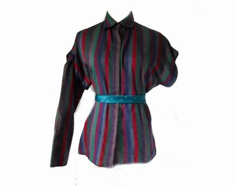 80s Blouse / Vintage Long Sleeve Short Sleeve Blouse / Stripes / Quail Crossing Sz M to Sz L