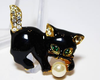 Playful Kitty Cat Brooch with Faux Pearl Bead, Clear Rhinestones & Black Enamel, Green Rhinestone Eyes, Modern Vintage 1980s 1990s Kitten