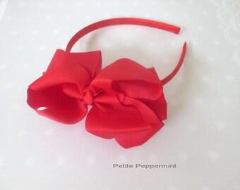 Red Baby headband, toddler headband, little girl headband, girl bow headband, toddler hard headband, Red Bow Head Band, girl hair band