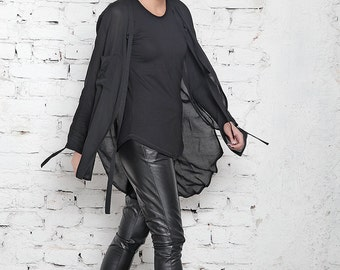 Black Top / Asymmetric Top / White Tee / Baggy Shirt / Long Blouse / Drape Tunic / Loose Shirt / Plus Size Top / Plus Size Tee / White Shirt