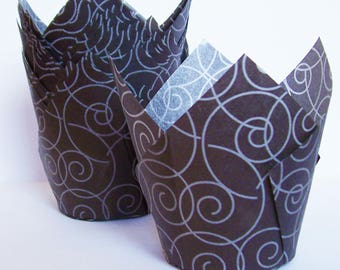 24 Black with Silver Swirls Tulip Cupcake Liners