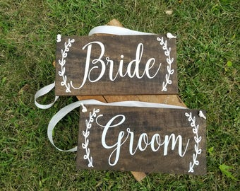 Bride and Groom Chair Signs-Reception Decor-Wedding Table Decor-Photo Prop