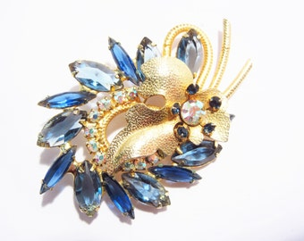 Confirmed Vintage Juliana Blue Rhinestone Brooch Gold Leaf 60s
